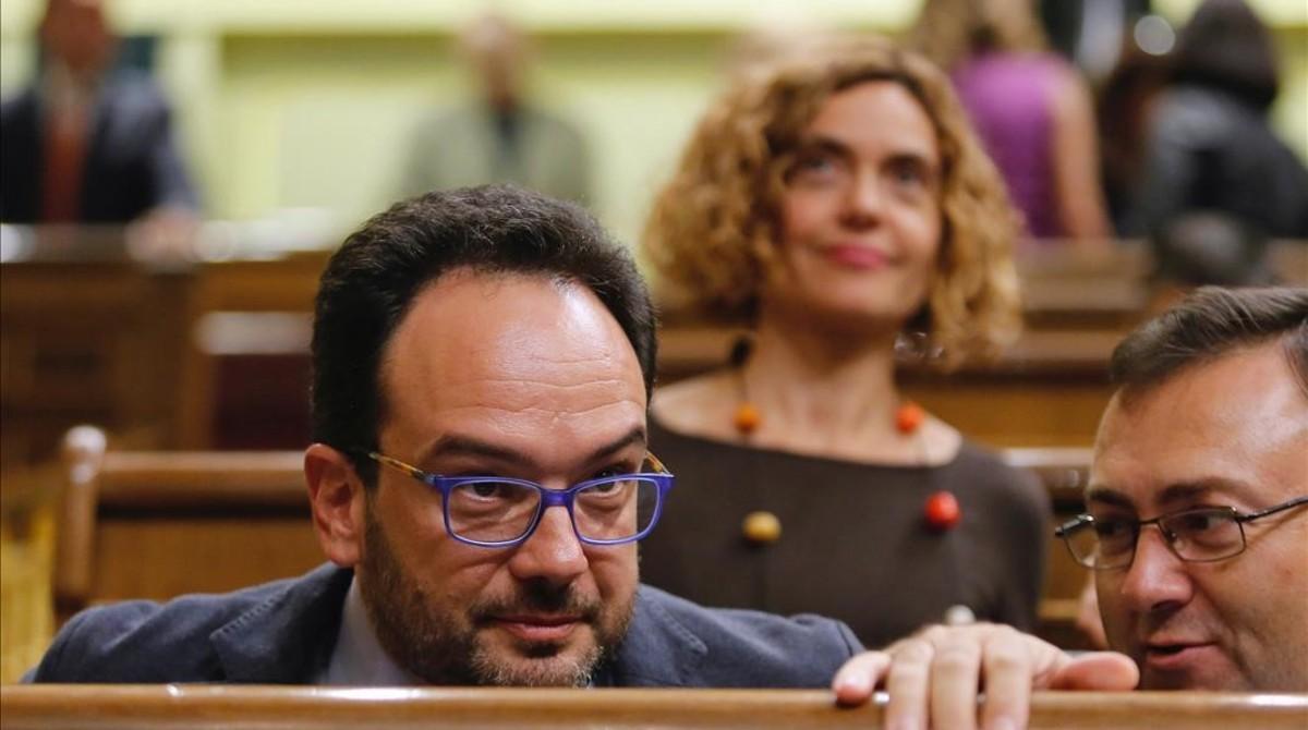 El portavoz parlamentario del PSOE, Antonio Hernando, en el Congreso de los Diputados.