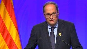 El 'president' Torra, durante la declaracióninstitucional de este jueves de madrugada, tras la tercera noche de disturbios violentos en Catalunya.