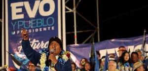 El presidente de Bolivia, Evo Morales, en el acto de cierre de campaña en El Alto (Bolivia).