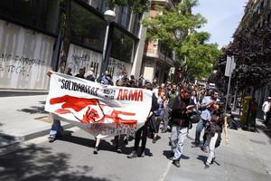Protesta por el desalojo del conocido como banco ocupado de Gràcia.