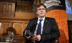 Puigdemont, en un coloquio de la Universidad de Groninga, el pasado febrero.
