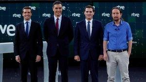 Los cuatro principales candidatos a la Presidencia del Gobierno en el debate de RTVE.