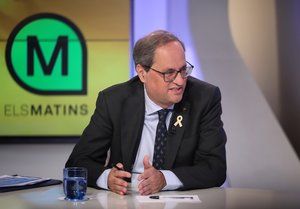 Quim Torra entrevistado en Els matins de TV-3.