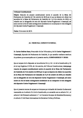 Recurso de Puigdemont ante el TC contra el acuerdo de la Mesa del Parlament.