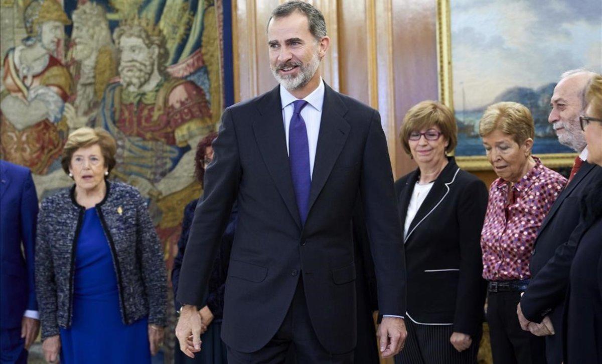 El rey Felipe VI, durante una recepción en La Zarzuela.