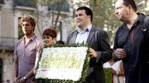 Una delegación de EH Bildu participa en la ofrenda floral al monumento de Rafael Casanova, el domingo pasado, por la Diada.