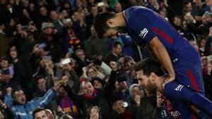 Messi y Luis Suárez, en un partido en el Camp Nou.