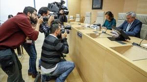 El coronel jefe de la UCO de la Guardia Civil, Manuel Sánchez Corbí, durante su comparecencia en la comisión que investiga la presunta corrupción del PP.