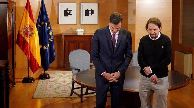 Pedro Sánchez y Pablo Iglesias, antes de la reunión que mantuvieron en el Congreso el pasado 11 de junio.