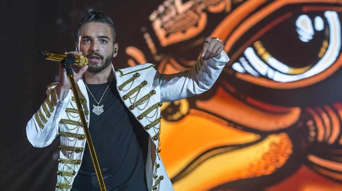 Maluma, durante la actuación en el Palau Sant Jordi.