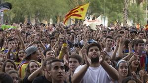 Manifestación en la plaza de la Universitat de Barcelona, el martes.