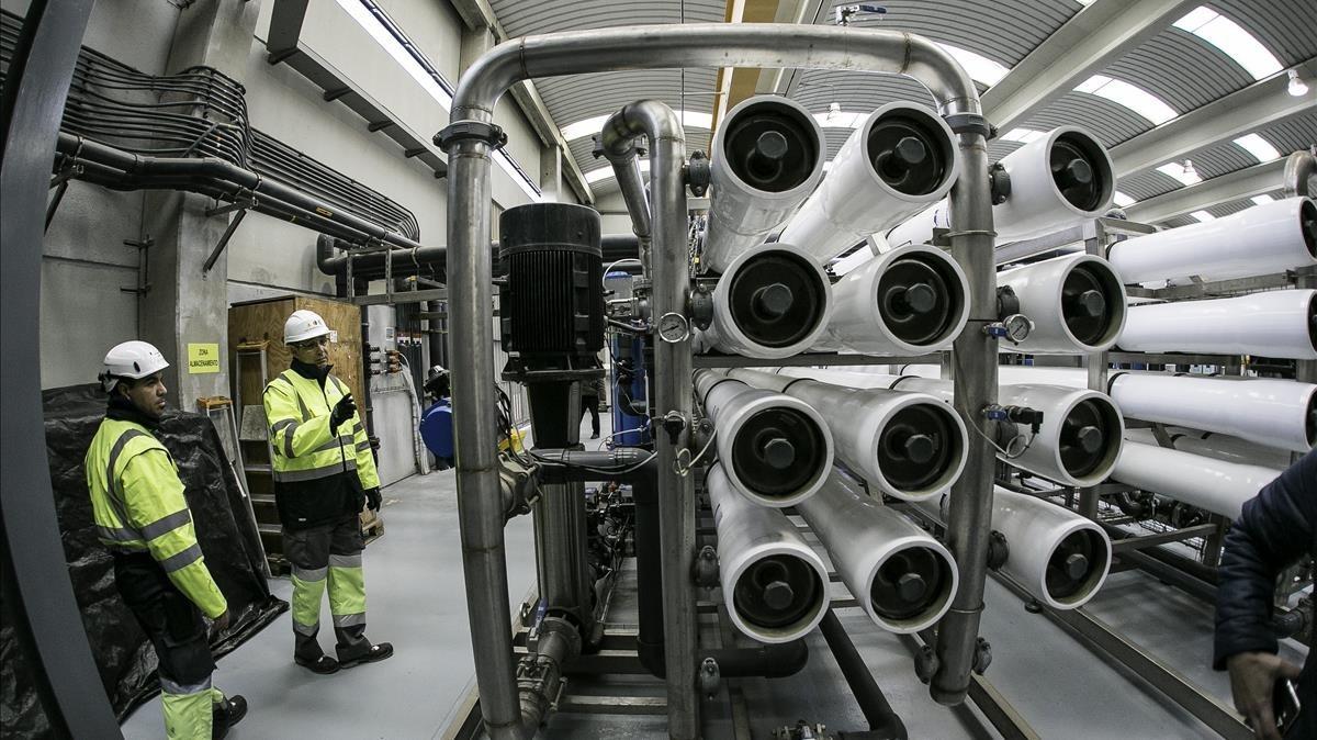 Instalaciones de la depuradora del Llobregat, donde desde hace unos días ha entrado en funcionamiento el sistema terciario.