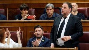 """Junqueras, Sànchez, Rull i Turull prometen """"com a presos polítics"""""""