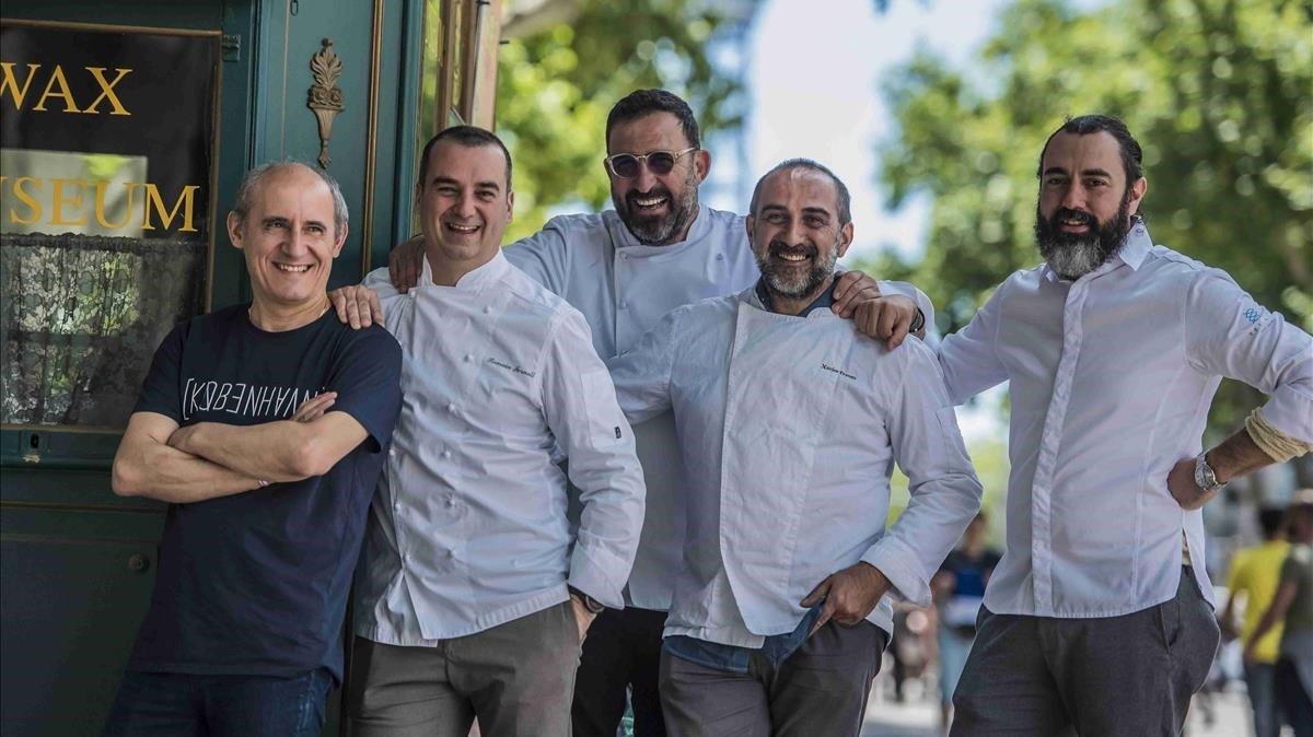 Algunos de los chefs presentes en el Tast a la Rambla, Paco Pérez, Romain Fornell, Óscar Manresa, Xavi Franco y Rafa Zafra.