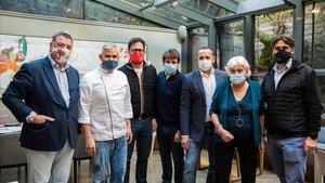 Empresarios, chefs, proveedores y médicosreunidos en Barcelona el jueves 19 de noviembre.