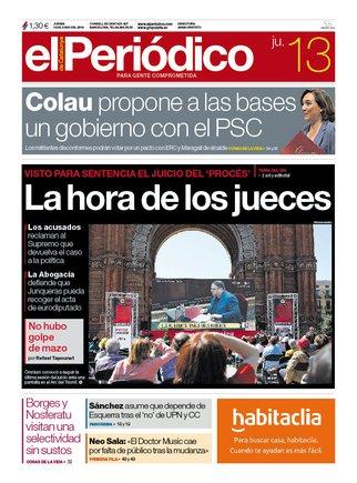 La portada d'EL PERIÓDICO del 13 de juny del 2019