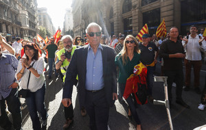 Peruvian Nobel laureate Mario Vargas Llosa attends a pro-union demonstration organised by the Catalan Civil Society organisation in Barcelona
