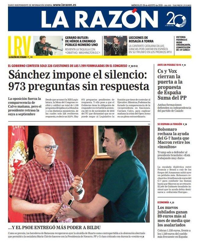 Prensa hoy: Portadas de los periódicos del 28 de agosto del 2019