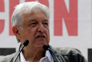 Mexico s President-elect Andres Manuel Lopez Obrador speaks during a rally as part of a tour to thank supporters for his victory in the July 1 election  in Mexico City. REUTERS Henry Romero