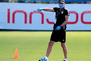Abelardo, en un momento de la sesión de entrenamiento