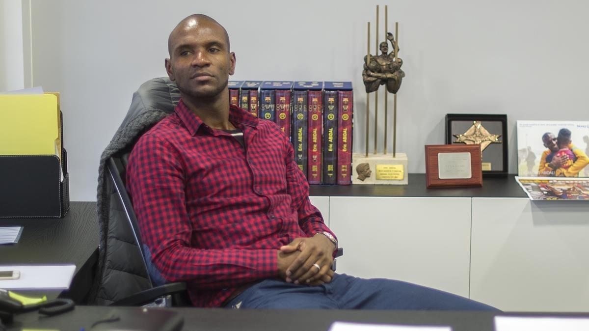 Abidal, en su despacho de la Fundació del barça, en el 2015.