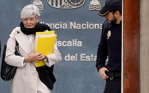 La abogada Olga Tubau, ante la sede de la Audiencia Nacional.