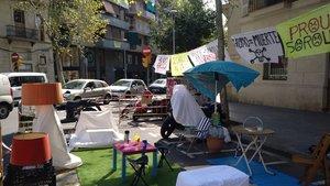Aspecto del xaflán de Independència con Aragó con motivo del Park(ing) Day, esta mañana