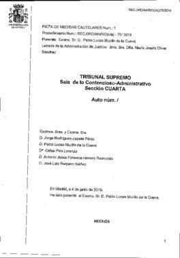 Auto del Supremo con la referencia a Franco como jefe del Estado desde octubre de 1936