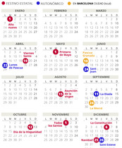 Calendario laboral de Barcelona del 2019.