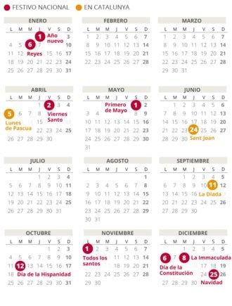 Calendario laboral de Catalunya del 2021.