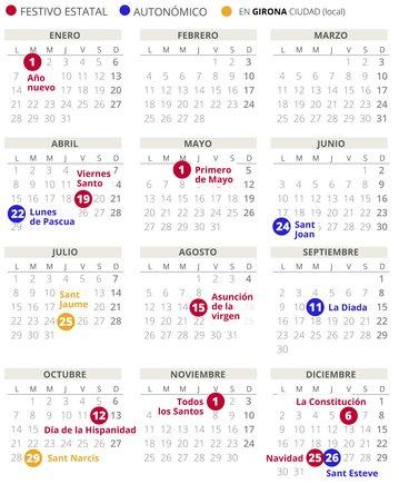 Calendario laboral de Girona del 2019.