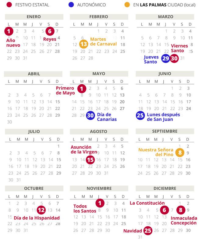 Calendario laboral de Las Palmas (Gran Canaria) del 2018.