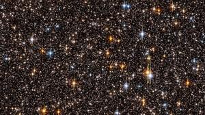 Concurrido campo estelar en el centro de nuestra galaxia, laVía Láctea. Imagenobtenida durante una exposición de una semana en el 2006, en la que sedetectaronnada menos que 180.000 estrellas.