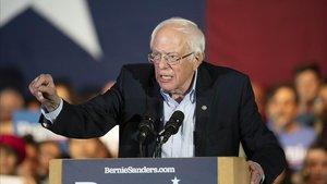 El candidato demócrata Bernie Sanders, en un mitin en San Antonio (Tejas).