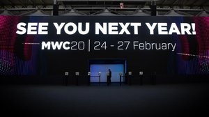 Cartel de despedida de la edición del 2019 del Mobile World Congress.