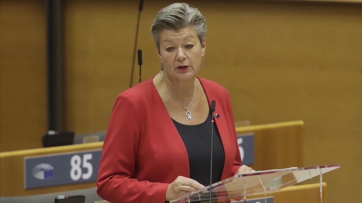 La comisaria de Interior, Ylva Johansson, durante un debate en el Parlamento Europeo este jueves.