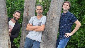Dani Rovira, Javier Ruiz Caldera y Julián López, tras la presentación de Superlópez en Sitges