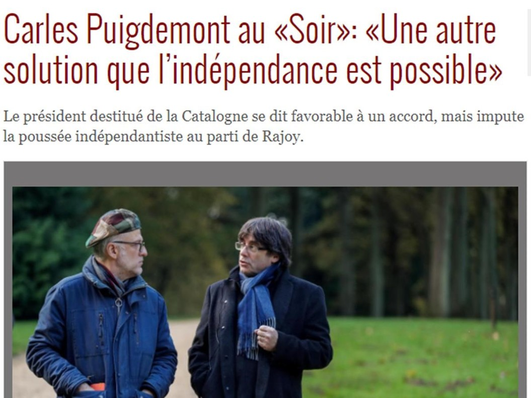 Entrevista a Carles Puigdemont en el diario Le Soir.