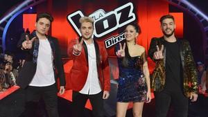 De izquierda a derecha, los cuatro finalistas de La voz del 2017: Gabriele, Samuel, Alba y Pedro.