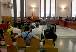 Imagen del juicio contra los miembros de los Bloods de Sant Boi, este lunes