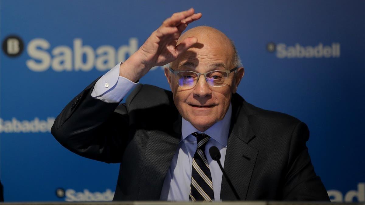 Josep Oliu durante la presentación de resultados del 2017 del Banco de Sabadell