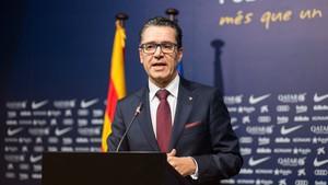 Josep Vives, portavoz del Barça, en una comparecencia en la sala de prensa.
