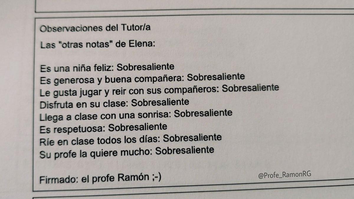Foto de las notas de Elena,subida a Twitter por el Profe Ramón.