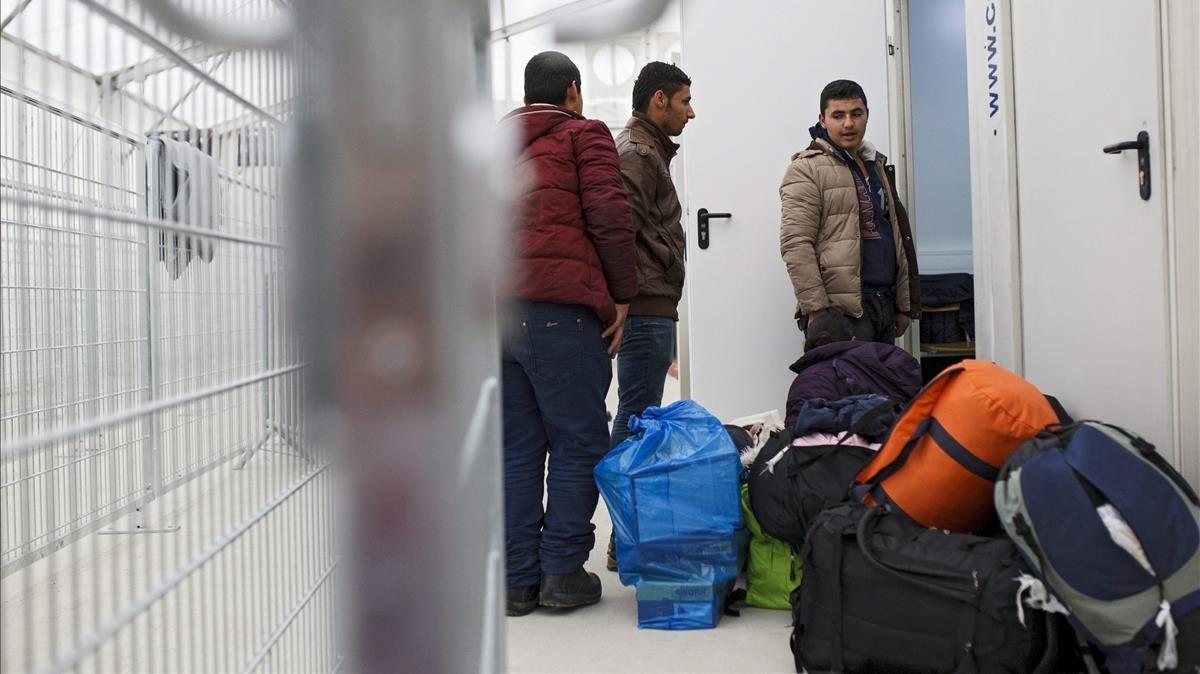 Llegada de refugiados a Spiefeld (Austria), en la frontera con Eslovenia, en febrero del 2016.