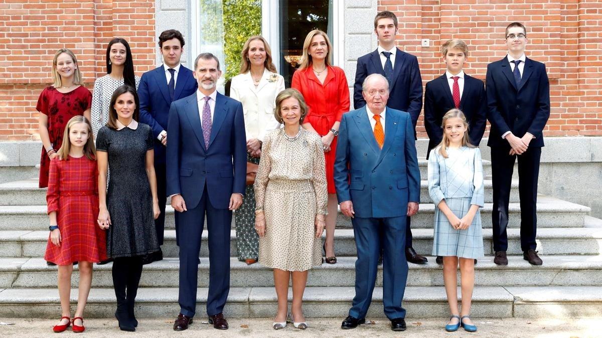 La reina Sofía logró reunir a toda la familia real española