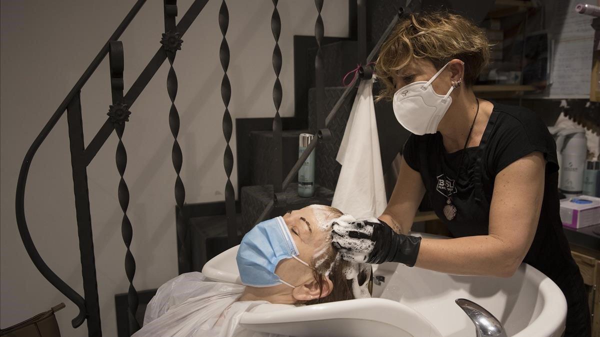 Una peluquería en el Eixample de Barcelona.