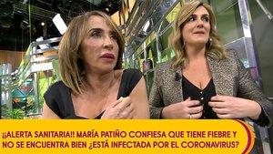 'Sálvame' dispara las alarmas por el coronavirus y le mide la temperatura en directo a María Patiño