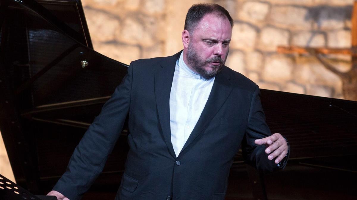 Matthias Goerne, durante su actuación en la Schubertíada de Vilabertran, en el 2016.