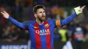 Messi celebra el pase del Barcelona a los cuartos de final de la Liga de Campeones.