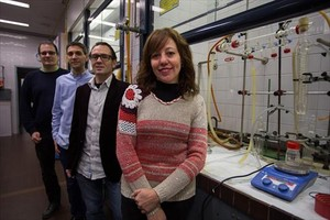 Miembros de Science for Science 8Patrick Gamez, Jordi Ribas, Guillem Aromí y Leoní Barrios.